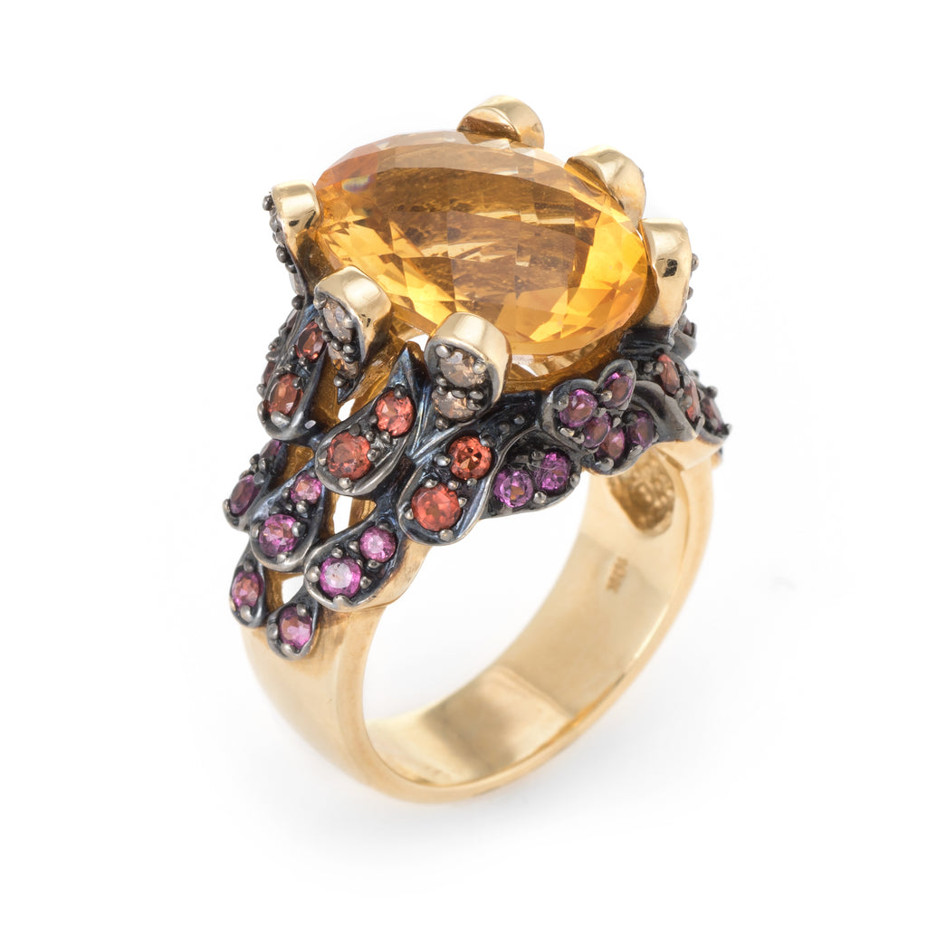 Citrine Orange Diamond Pink Tourmaline Ring Vintage 10k Yellow Gold