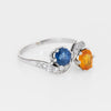 Natural Sapphire Diamond Bypass Ring Vintage 18k White Gold