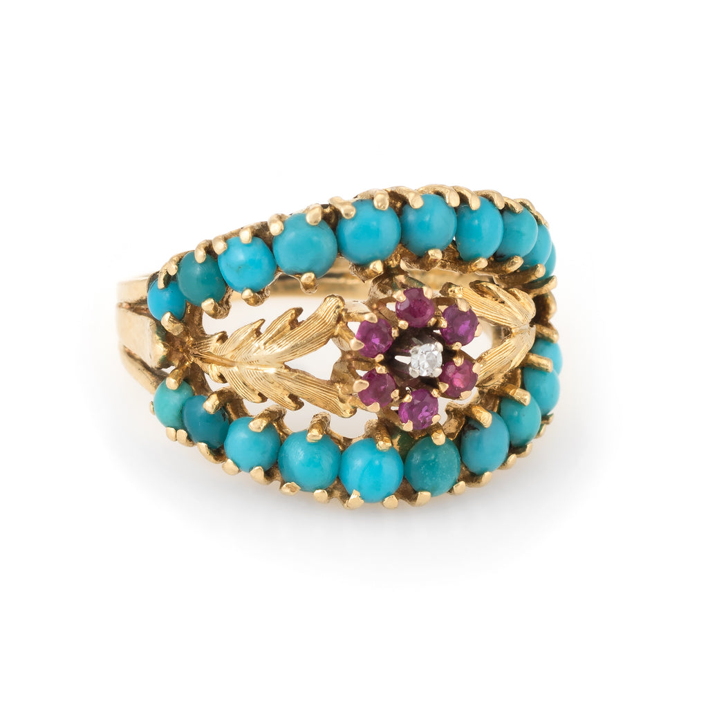 Turquoise Ruby Diamond Wreath Flower Band Ring Vintage 18k Yellow Gold Estate