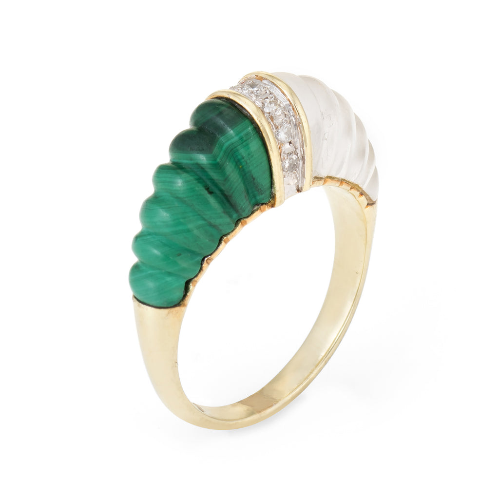 Fluted Rock Crystal Malachite Diamond Dome Ring Vintage 14k Yellow Gold Estate