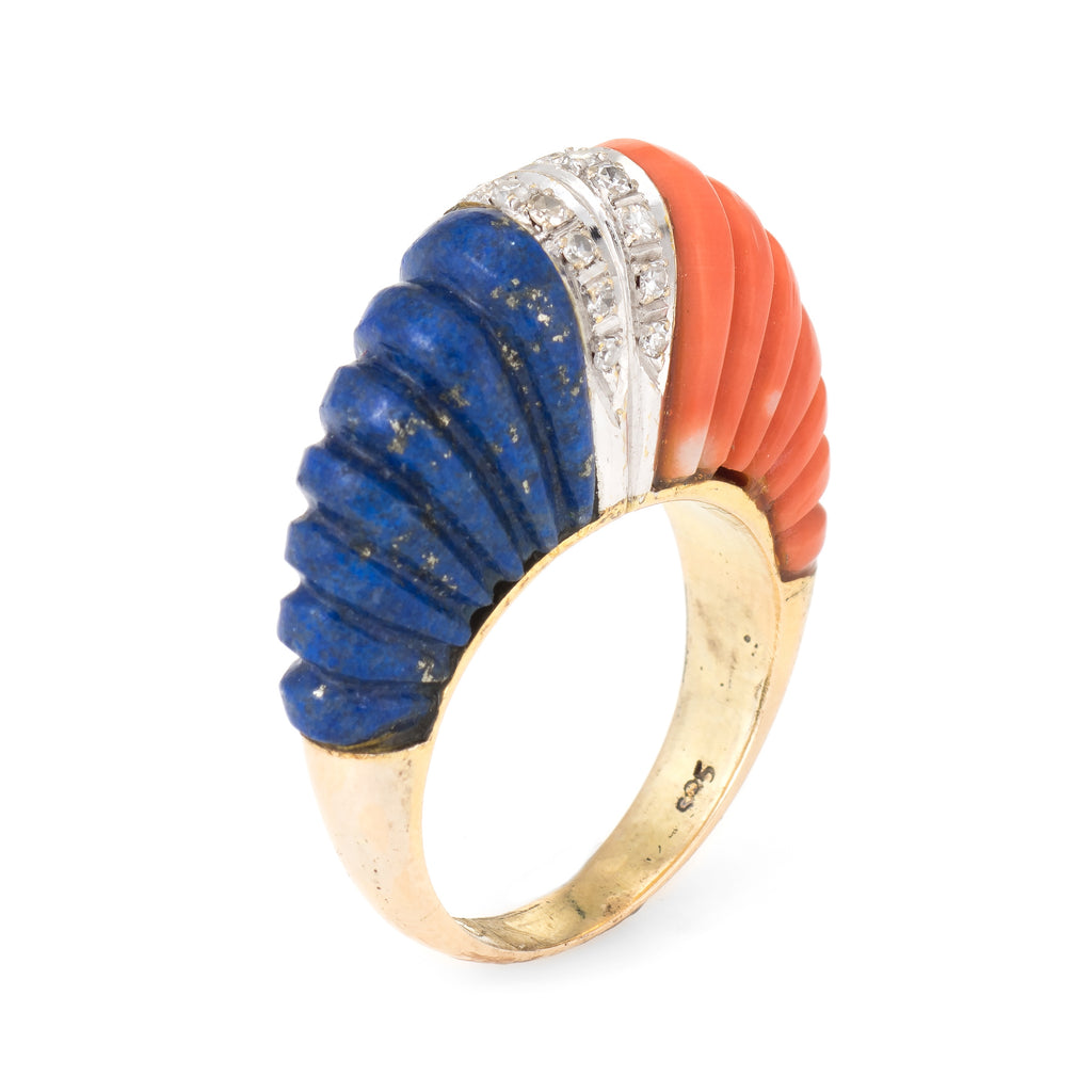 Fluted Coral Lapis Lazuli Diamond Dome Ring Vintage 14k Yellow Gold Estate Fine