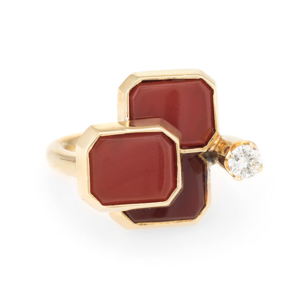 1970s Carnelian Diamond Cocktail Ring Vintage 14k Yellow Gold
