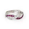 Tiffany & Co Ruby Diamond Band Ring Vintage Platinum Estate Fine Jewelry
