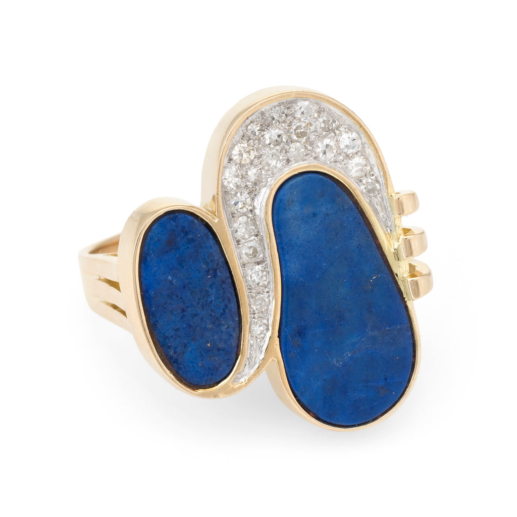 70s Lapis Lazuli Diamond Cocktail Ring Vintage 14k Yellow Gold Estate Jewelry