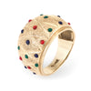 Enamel Dome Cigar Band Ring Vintage 14k Yellow Gold Fine Jewelry Sz 6