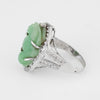 Carved Jade Frog Cocktail Ring Diamond Vintage 18k White Gold Jewelry