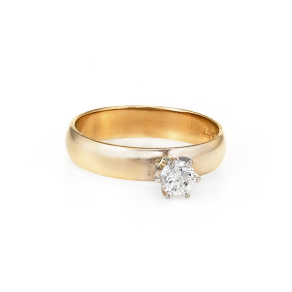 Diamond Engagement Ring Vintage 14k Yellow Gold Estate Fine Jewelry Sz 5.5