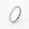 Antique Deco Diamond Platinum Eternity Ring Sz 6.5 Wedding Band Vintage Fine