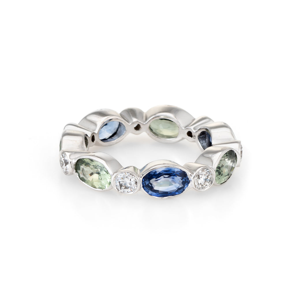 Colored Sapphire Diamond Eternity Ring Sz 5.25 Vintage 18k White Gold Jewelry