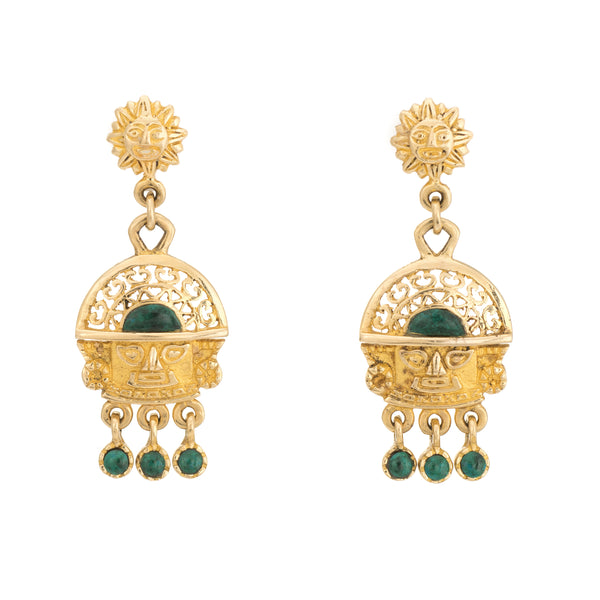 Vintage Aztec Earrings 18k Yellow Gold Green Stone Drops Estate Fine Jewelry