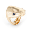 Shark Head Ring Vintage 14k Yellow Gold Sapphire Eyes Marine Ocean Sea Jewelry