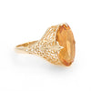Large Oval Citrine Filigree Cocktail Ring Estate 10k Yellow Gold Fine Jewelry