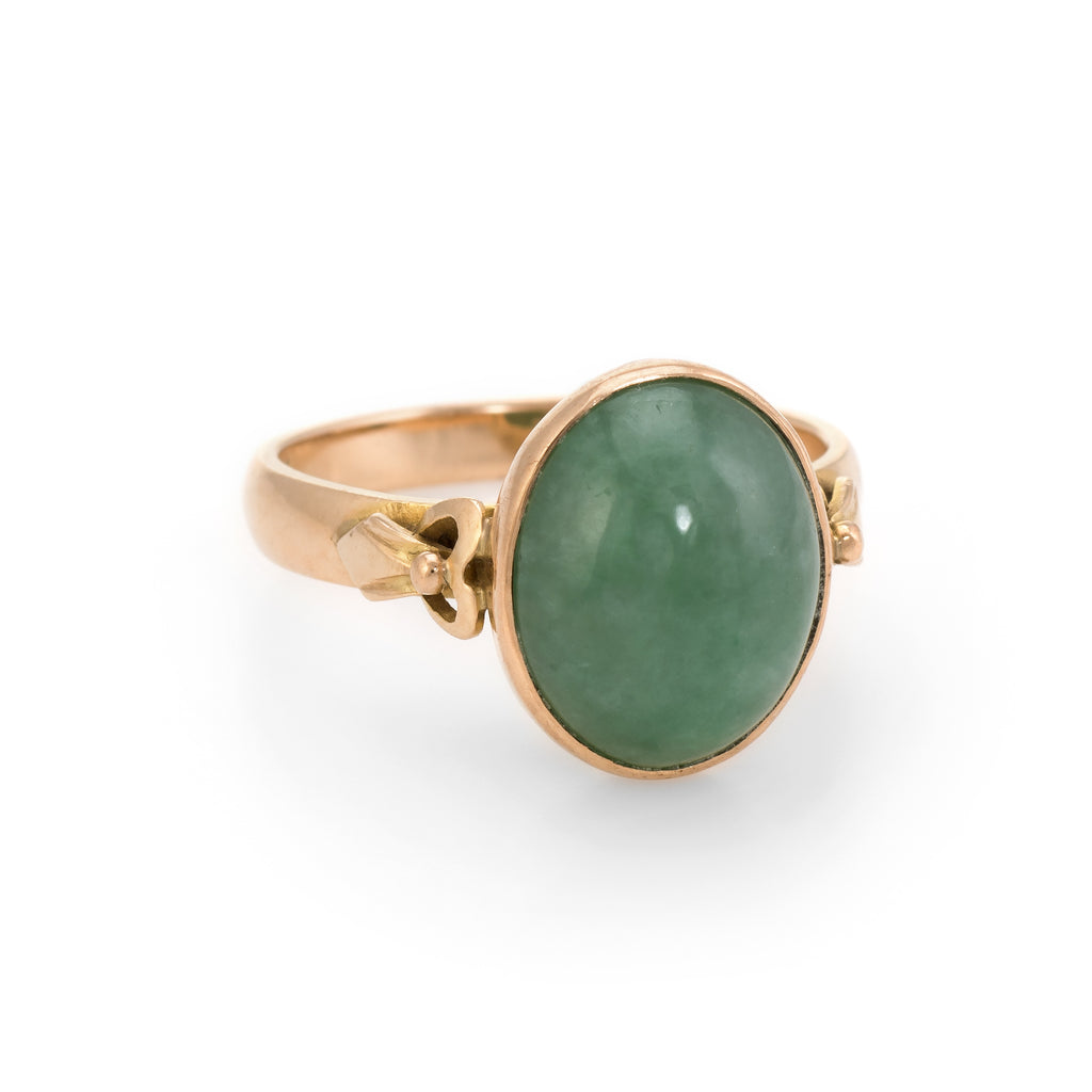 Oval Jade Cocktail Ring Vintage 14k Yellow Gold Estate Fine Jewelry