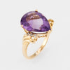 Vintage Amethyst Diamond Ring 10k Yellow Gold Pearl Cut Estate Fine Jewelry 6.75