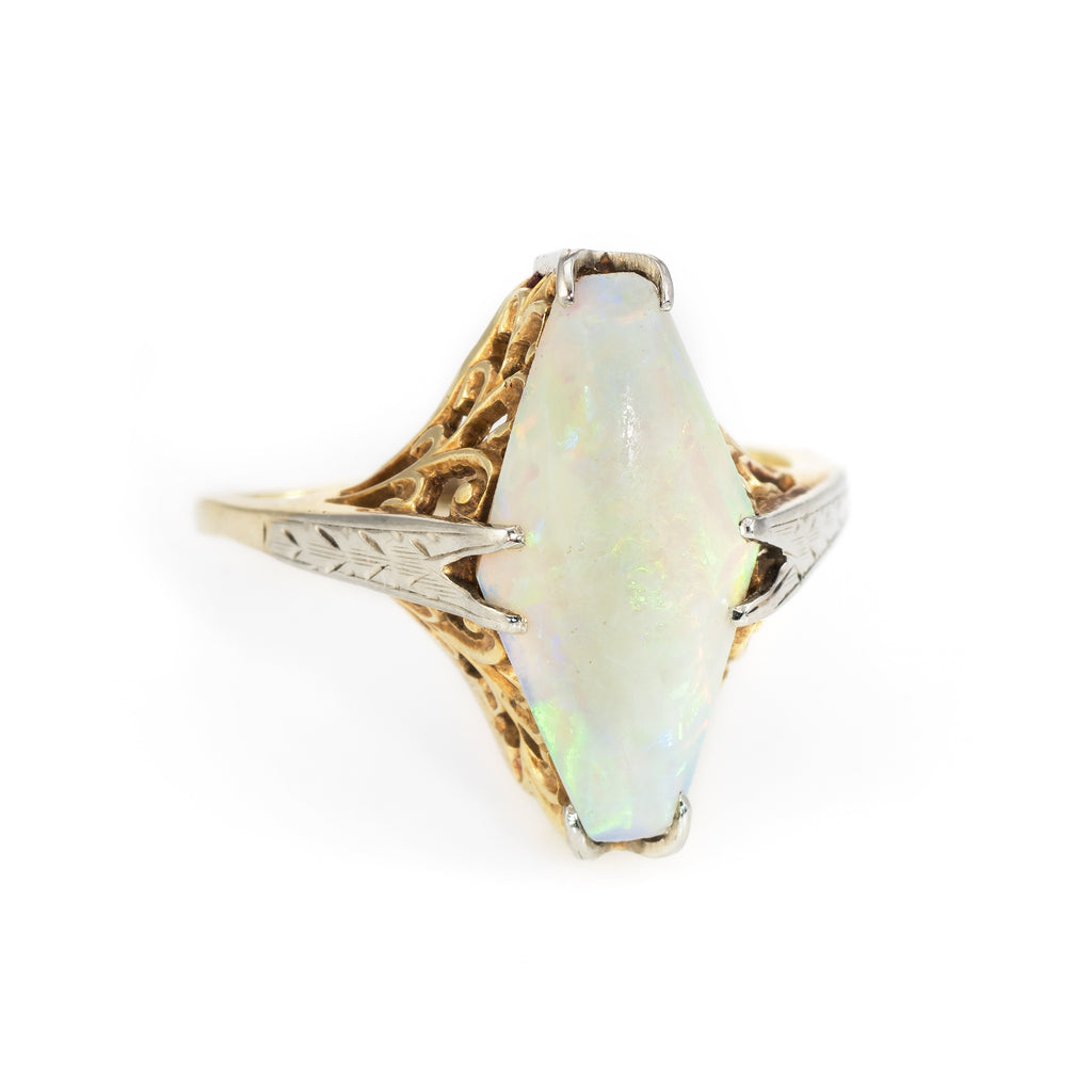 Antique Deco Opal Cocktail Filigree Ring Vintage 14k Two Tone Gold Estate