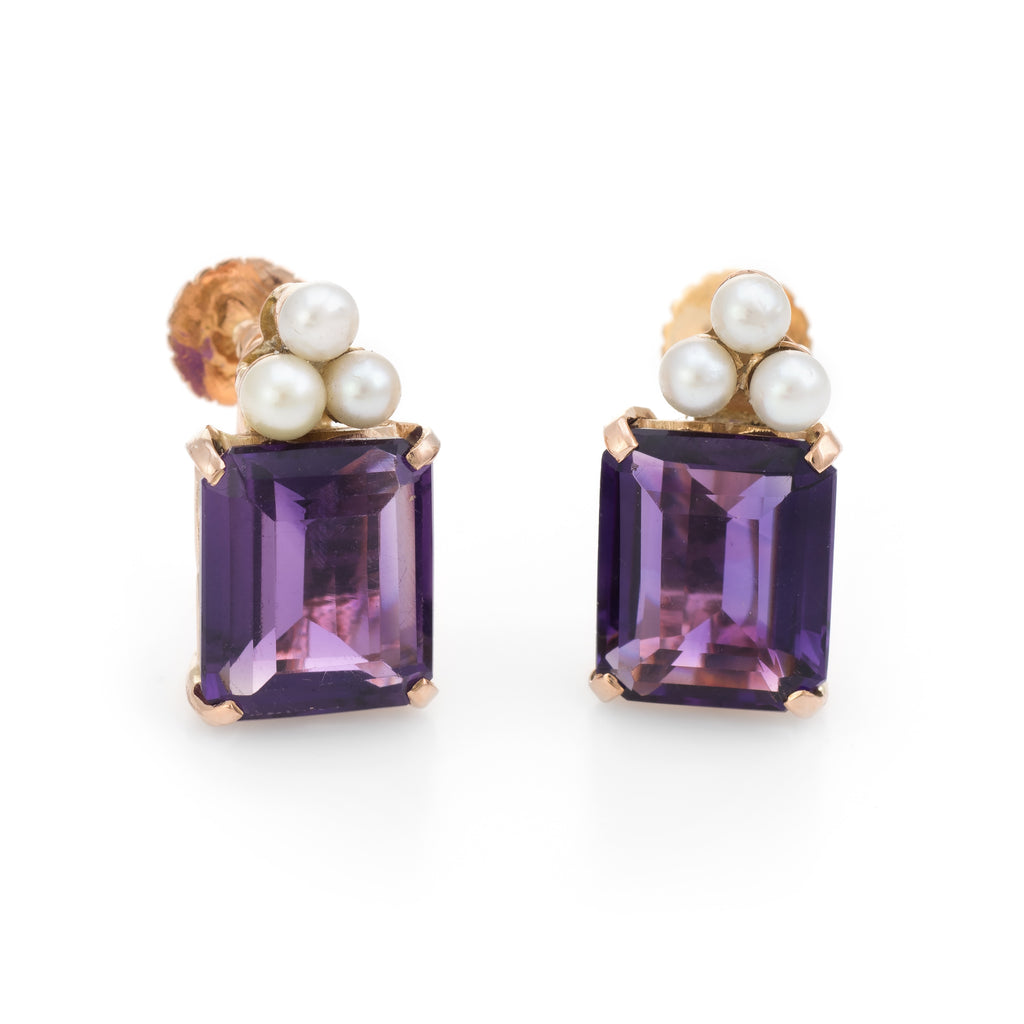 Vintage Amethyst Cultured Pearl Earrings 14k Yellow Gold Emerald Cut Jewelry