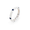 Adolfo Courrier White Enamel Sapphire Stacking Ring Sz 5.5 Estate Fine Jewelry