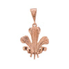 Prince of Wales Feathers Charm 9k Rose Gold Pendant Vintage Jewelry Gift Estate