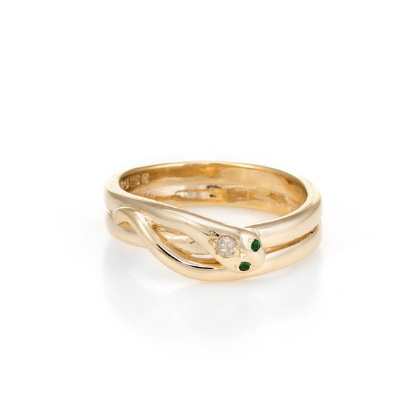 Vintage Snake Ring 9k Yellow Gold Diamond Emerald Alternative Wedding Band 9.5