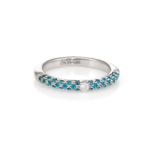 Adolfo Courrier Pave Turquoise Diamond Stacking Ring 18k Gold Sz 6.75 Jewelry
