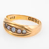 Antique Seed Pearl Gypsy Band Victorian Ring c1899 18k Gold Chester Vintage 6.25