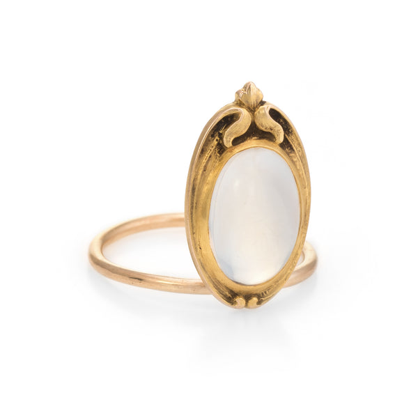 Antique Art Nouveau Moonstone Conversion Ring 10k Yellow Gold Vintage Jewelry