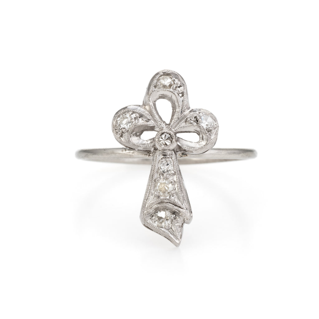 Antique Clover Conversion Ring Art Deco Diamond 14k White Gold Platinum Fine