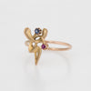 Antique Art Nouveau Abstract Conversion Ring Ruby Sapphire 14k Yellow Gold
