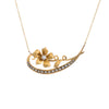 Antique Crescent Moon Conversion Necklace Victorian Seed Pearl Flower 14k Gold