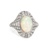 Antique Natural Opal Diamond Ring Art Deco Platinum Vintage Cocktail Ring Sz 7.5