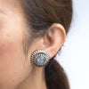 Lagos Caviar Large Round Moonstone Earrings Vintage Sterling Silver 18k Gold