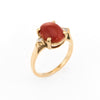 Vintage Ox Blood Coral Diamond Ring 14k Gold Small Cocktail Estate Jewelry 4.25