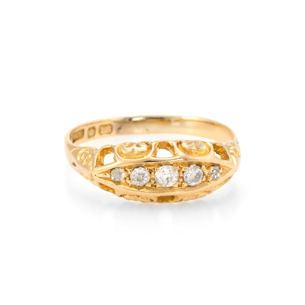 Antique Edwardian Graduated 5 Old Mine Cut Diamond Ring 18k Yellow Gold Vintage