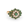 Vintage Emerald Diamond Cluster Ring 18k Yellow Gold Flower Estate Fine Jewelry