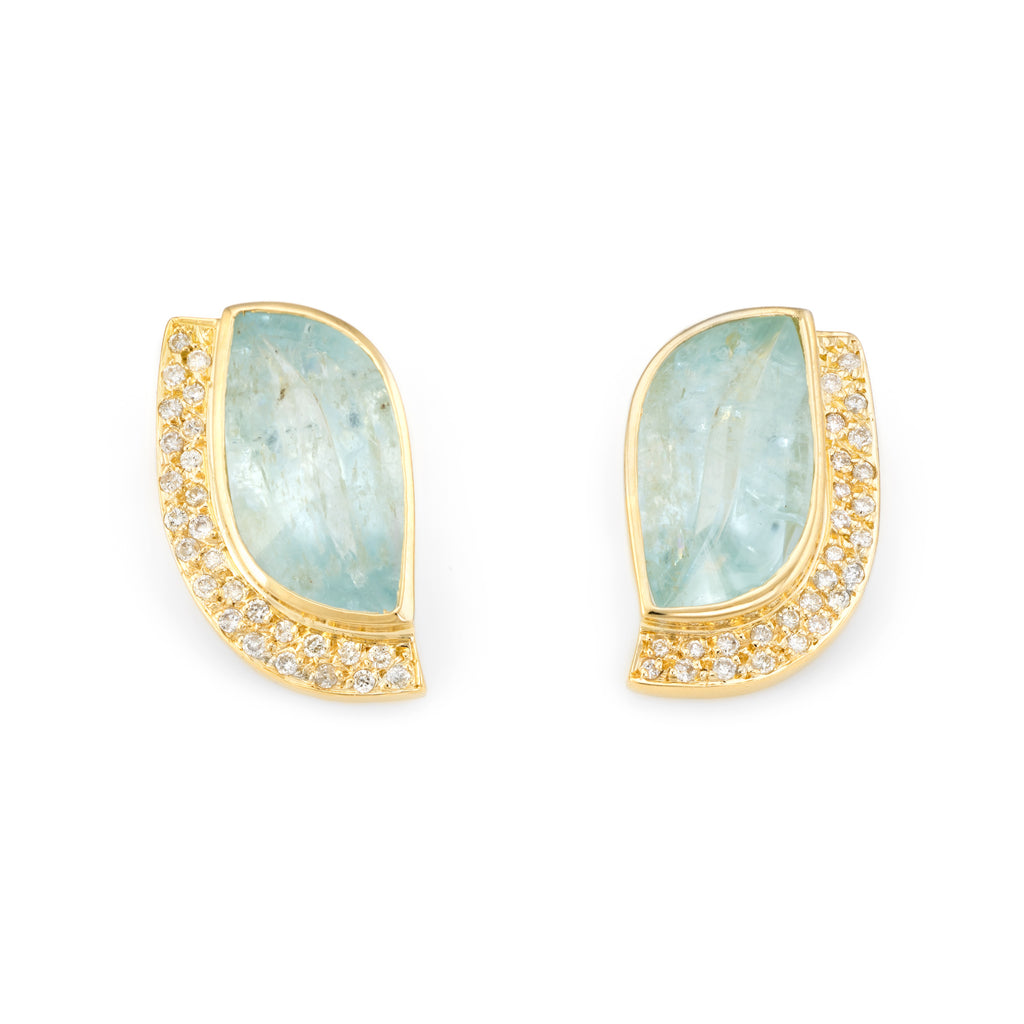 Vintage Aquamarine Diamond Earrings 18k Yellow Gold Statement Estate Jewelry