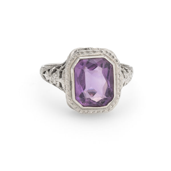 Antique Deco Amethyst Ring Vintage 14k White Gold Filigree Cocktail Square Sz 6