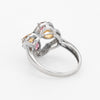 Estate Kate Mc Cullar Rhdolite Garnet Citrine Diamond Ring 14k White Gold 7.25