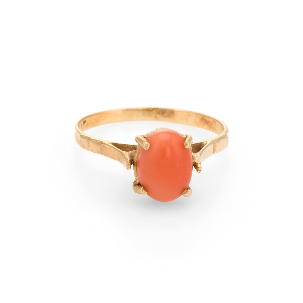 Vintage Coral Ring 14k Gold Small Cocktail Estate Jewelry Sz 5.25 High Rise
