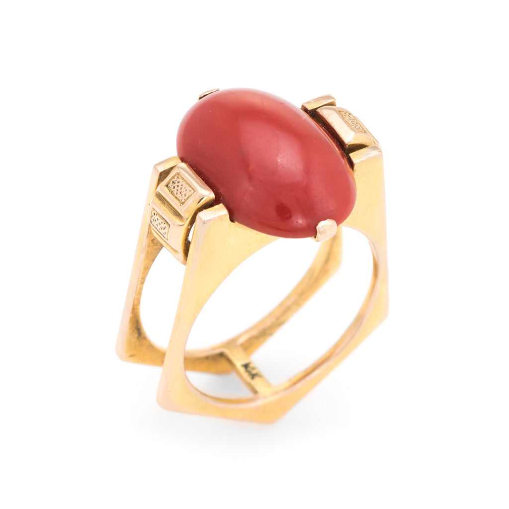 Vintage 70s Mediterranean Red Coral Ring 14k Yellow Gold Cocktail Estate Sz 6.5