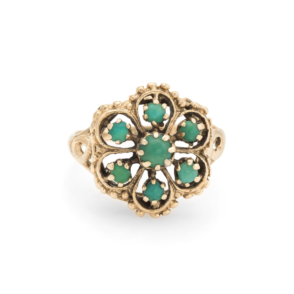 Vintage Turquoise Ring Flower 14k Yellow Gold Sz 6 Estate Fine Jewelry Pre Owned