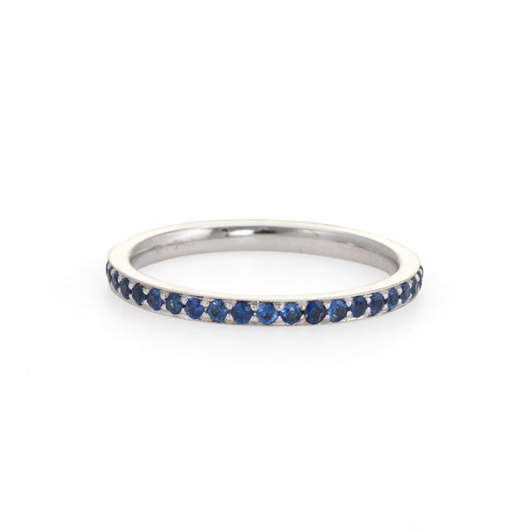 Sapphire Eternity Ring Sz 6.5 18k White Gold Estate Fine Jewelry 6 1/2 Stacking