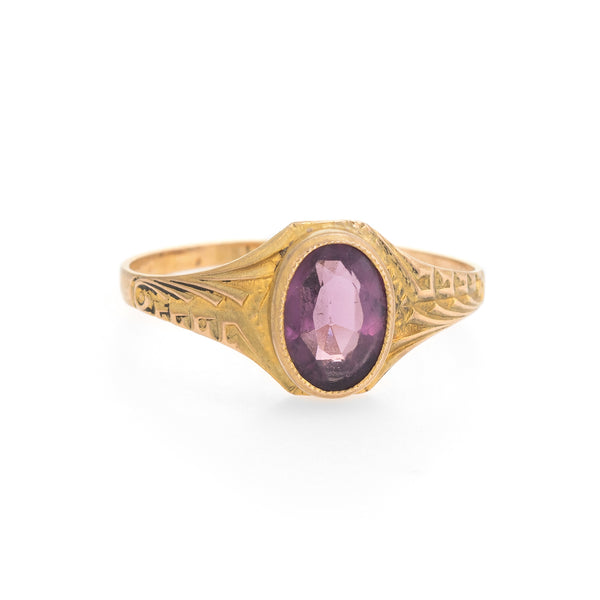 Antique Deco Amethyst Ring 10k Yellow Gold Pinky Child Vintage Fine Jewelry 4.5