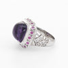 Vintage Amethyst Ruby White Sapphire Ring Square Cocktail 14k Gold Estate Sz 6.5