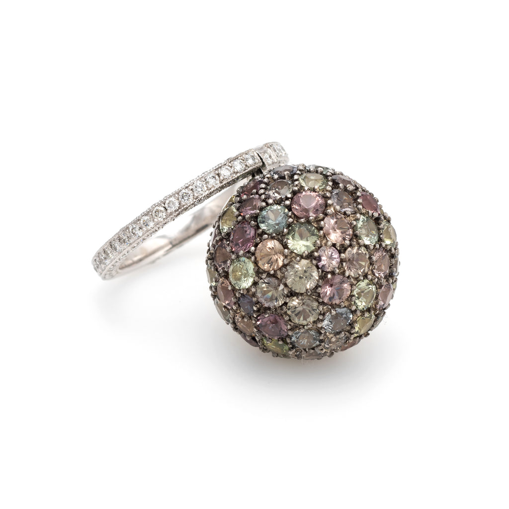 Amethyst Diamond Charm Ring Large Orb Estate Platinum Jewelry Sz 6 3/4 Cocktail