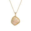 Natural Opal Diamond Pendant Necklace Vintage 18k Yellow Gold Estate Jewelry