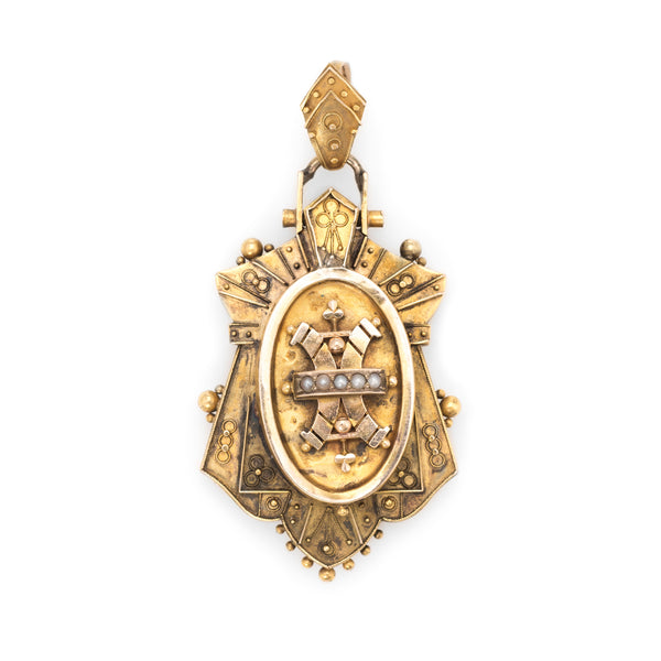 Antique Victorian Etruscan Revival Pendant Locket 14k Yellow Gold Seed Pearls