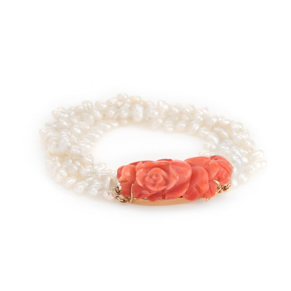 Vintage Carved Coral Bracelet 4 Strand Freshwater Pearls 14k Yellow Gold Estate