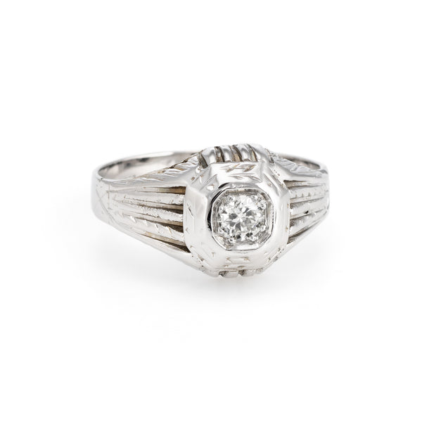 Antique Deco Diamond Ring Vintage 18k White Gold Estate Fine Jewelry Heirloom