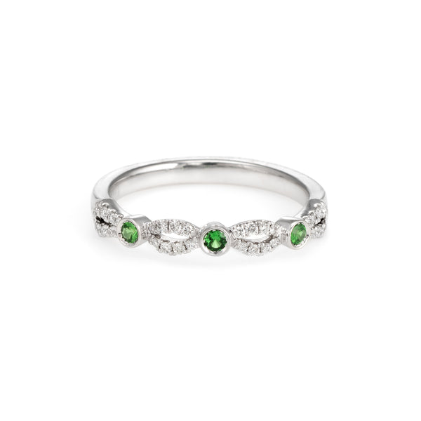 Estate Kirk Kara Diamond Tsavorite Garnet Ring Platinum Size 6.25 Wedding Band