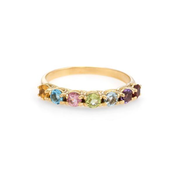 Estate Semi Precious Rainbow Gemstone Ring Sz 5.75 Stacking Band 18k Gold